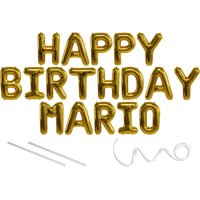 Mario, Happy Birthday Mylar Balloon Banner - Gold - 16 inch Letters. Includes 2 Straws for Inflating, String for Hanging. Air Fill Only- Does Not Float w/Helium. Great Birthday Decoration