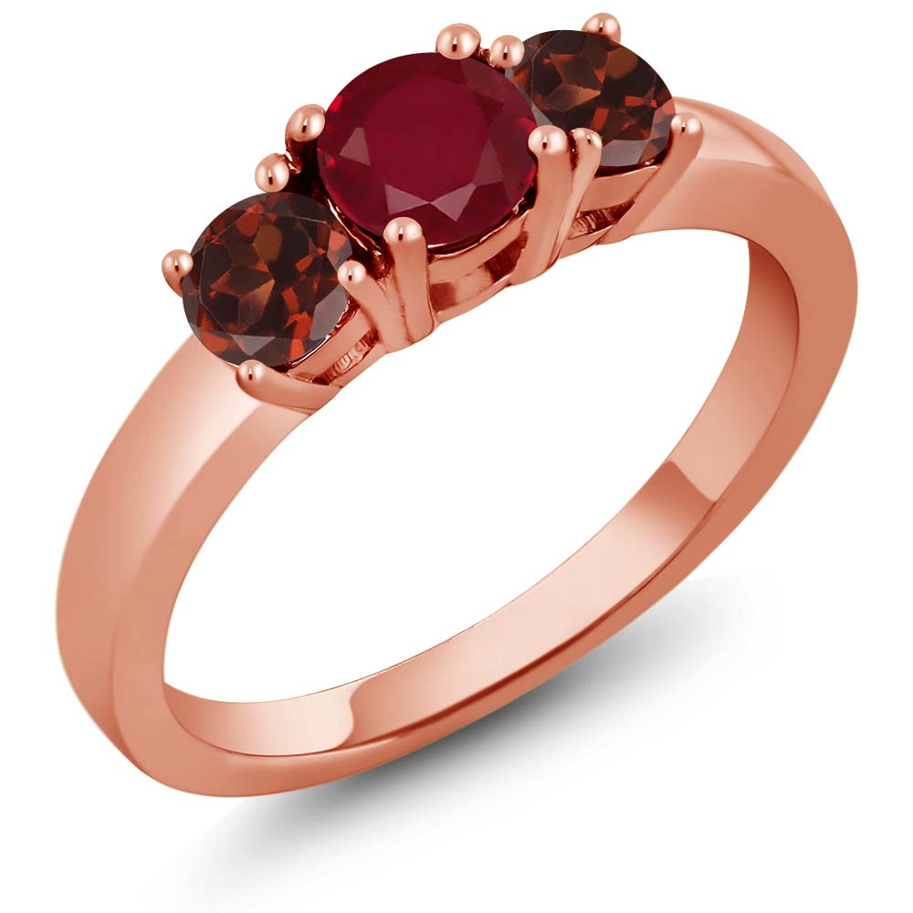 1.30 Ct Round Red Ruby Red Garnet 925 Rose Gold Plated Silver 3-Stone Ring