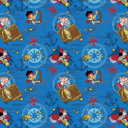 "Disney Jake Neverland, Jake Treasure Ahoy Toss, Cotton, Blue, 43/44"" Wide Fabric by the Yard"