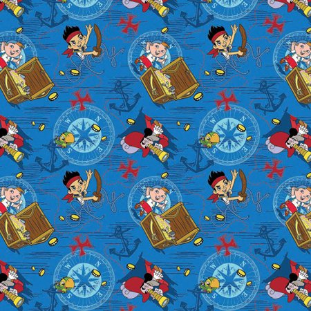 Jake And The Neverland Pirates Fabric (Disney Jake Neverland, Jake Treasure Ahoy Toss, Cotton, Blue, 43/44