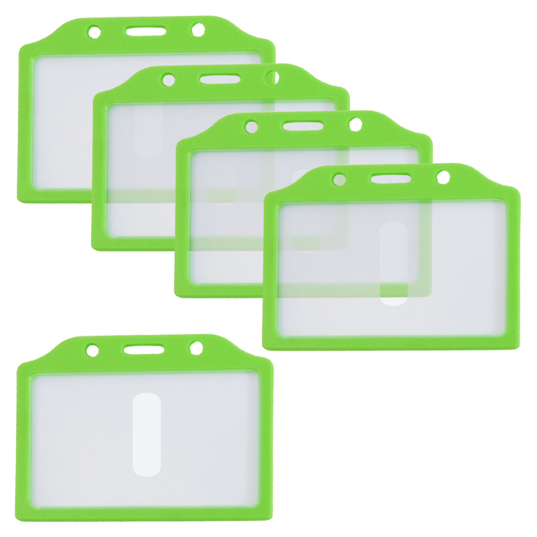 Green Clear Plastic Horizontal Business Working ID Badge Card Holder 5 Pcs
