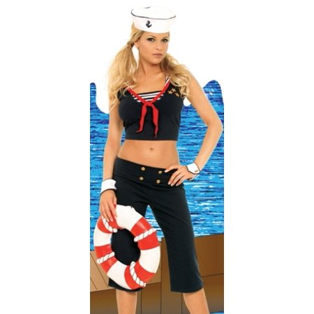 Womens Sexy Cute Adult Blue Navy Sailor Girl Costume Ahoy Matey First Mate Capri Pants Outfit with Hat