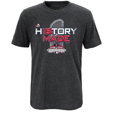 Boston Red Sox Majestic Youth 2018 World Series Champions Locker Room T-Shirt - Heather Charcoal