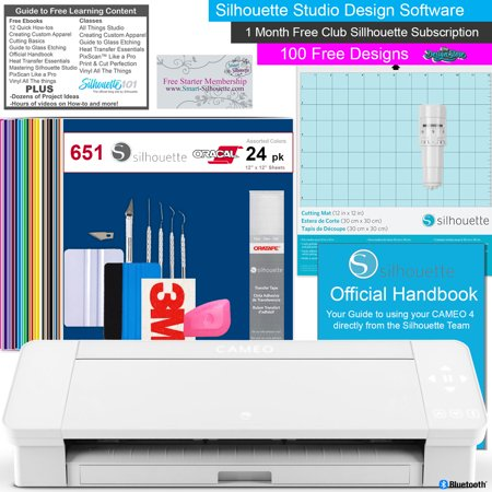 Silhouette Cameo 4 Vinyl Cutting Machine Bundle White with 24 Sheets of Oracal 651 Vinyl, Oratape, Deluxe Tool kit, and loads of Free Tutorial Guides Portable Cutting Machine