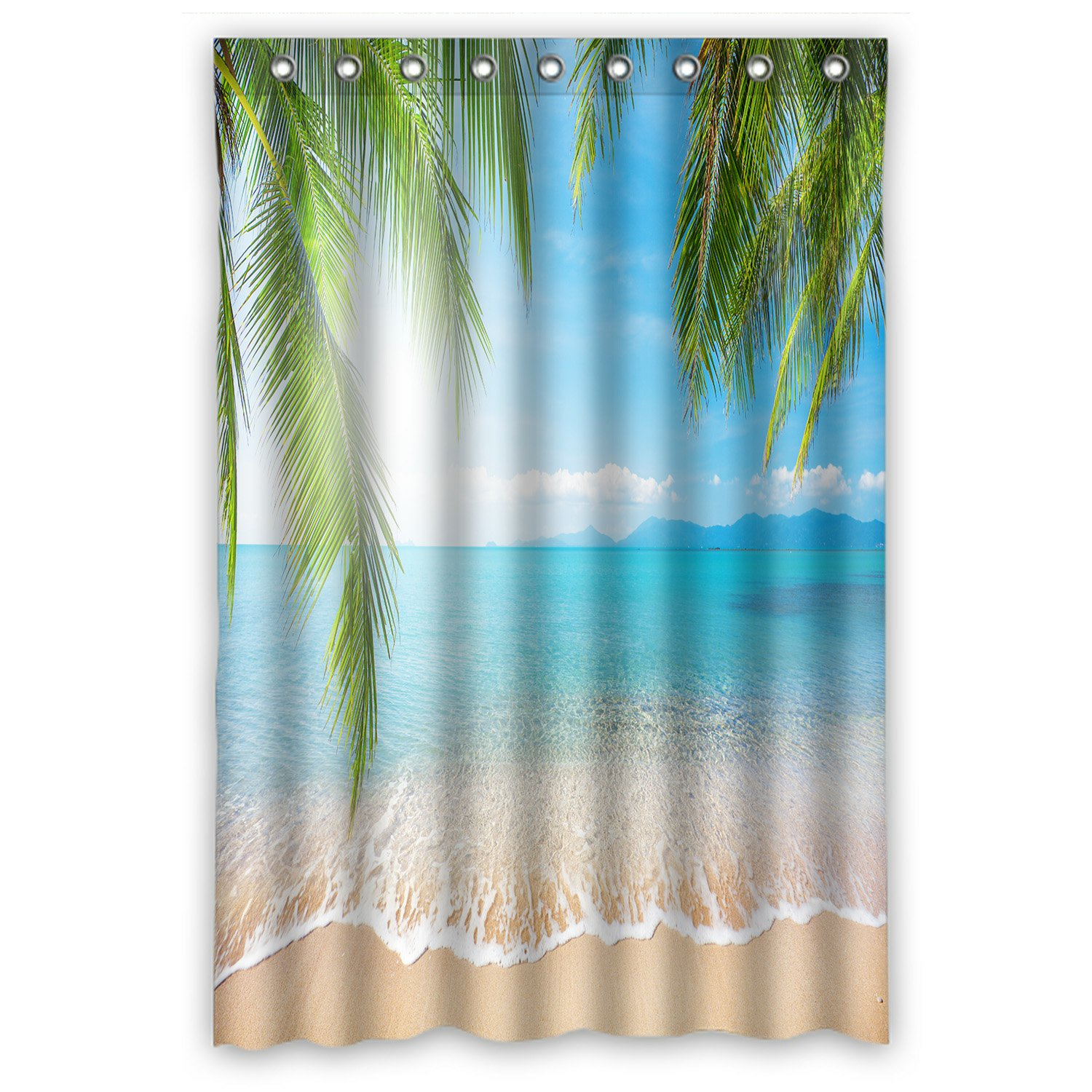 Phfzk Bule Sea Ocean Shower Curtain Tropical Beach Palm Tree Polyester Fabric Bathroom Shower Curtain 36x72 Inches