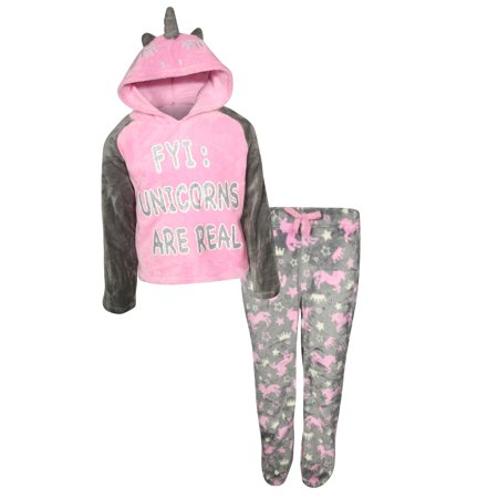 dELiA*s Girl 2 Piece Hooded Fleece Pajama Sleep Set (Little Girl & Big Girl)](Peace Fleece)