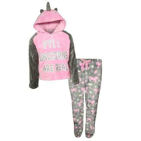 Sports Fleece Pajamas (dELiA*s Girl 2 Piece Hooded Fleece Pajama Sleep Set (Little Girl & Big Girl) )