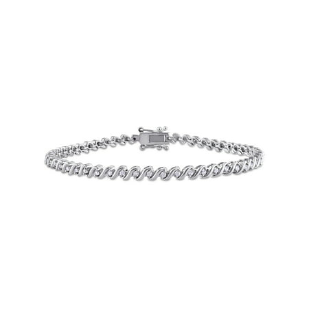 Silver Circular Bracelets - Miabella 1/2 Carat T.W. Diamond Sterling Silver Tennis Bracelet, 7.5
