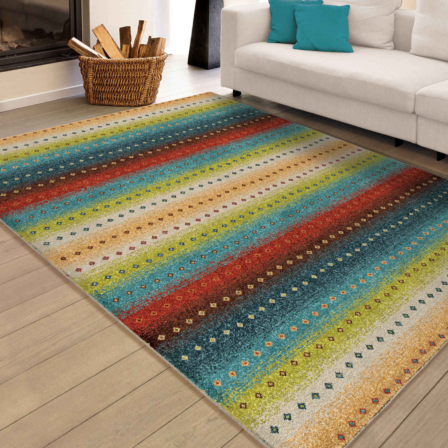 Orian Rugs Indoor Outdoor Bright Stripes Sable Multi Area