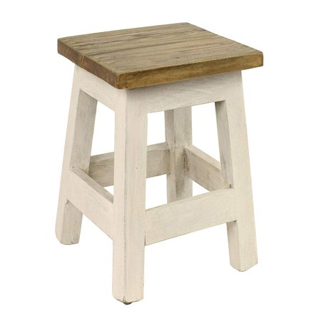 Goya Wood Step Stool/Accent Made of Mahogany in Chic Lightly Distressed Finish (Square Seat, for Home Use), One Size White, [RUSTIC WOOD STEP STOOL] crafted.., By Antique Revival Antique White Rustic Wood