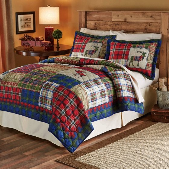 Mainstays Winter Cabin Printed Bedding Quilt Set Green
