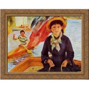 Canoeing (Young Girl in a Boat) 24x20 Gold Ornate Wood Framed Canvas Art by Renoir, Pierre Auguste by FrameToWall