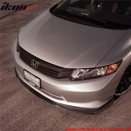 Fits 12 Only Honda Civic Sedan CS2 Style Front Bumper Lip Splitter Chin Spoiler ()
