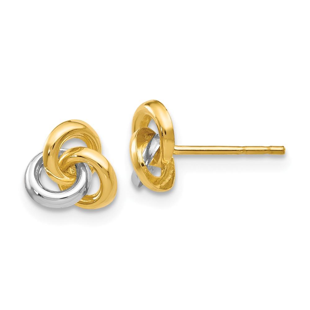 14k Yellow Gold & Rhodium Love Knot Post Stud Earrings. (7MM)