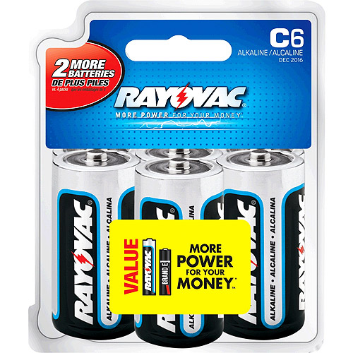 Rayovac Alkaline C Batteries, 6ct