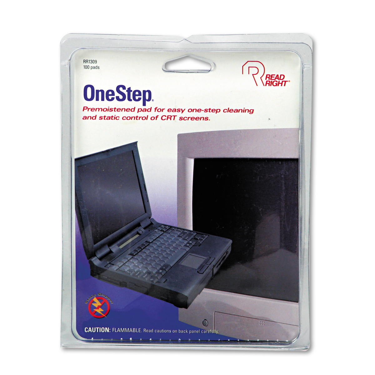 Read Right OneStep CRT Screen Cleaning Pads, 5 x 5, Cloth, White, 100/Box