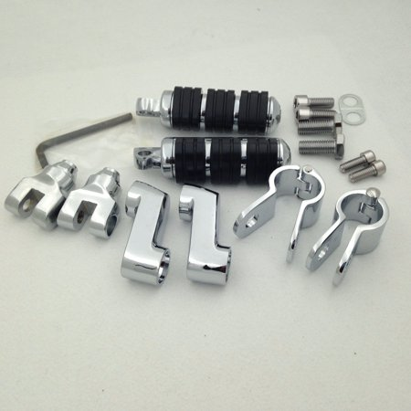 HTT Motorcycle Chrome Footrest Foot Pegs with 1 1/4