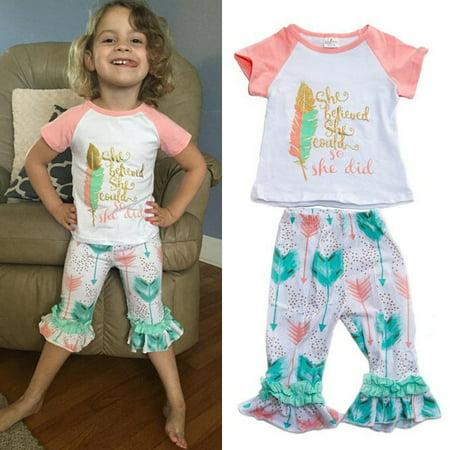 4b32da0084a 3Pcs Girls Kids Flower T-Shirt Tops+Shorts Pants Outfits Summer Clothes +  Headband - Walmart.com