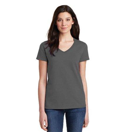 5V00L Ladies Heavy 100 Percent Cotton V Neck T-Shirt, Charcoal - Small