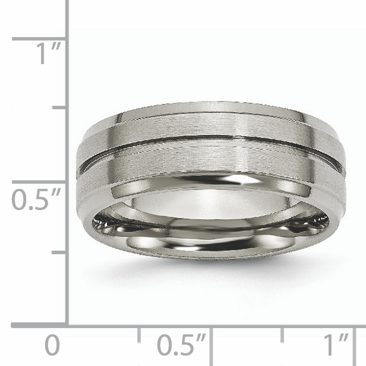 Titanium Grooved Ridged Edge 8mm Brushed Wedding Ring Band Size 14.00 Fashion Jewelry Gifts For Women For Her - image 2 de 6