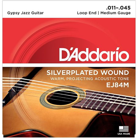 D'Addario EJ84M Gypsy Jazz Silver Wound Loop End Medium Guitar Strings ()
