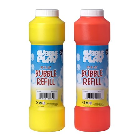 Bubble Play 64oz Bubble Refill Pack - Jumbo Supply Includes [2] 32oz Bottles of High Concentrate, Non Toxic Solution for Use w/ Kids Bubble Machine, Wands, Blowers & Other Toys - Incredible Bulk Value (Bulk Bubbles)