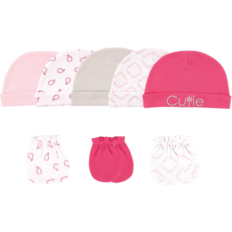 Hudson Baby Baby Girls Cotton Cap and Scratch Mitten Set
