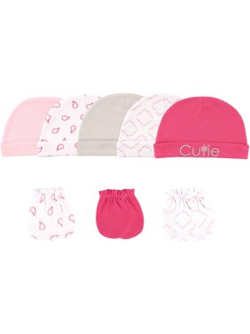 Hudson Baby Newborn Girl Caps & Scratch Mittens, 8pc Set