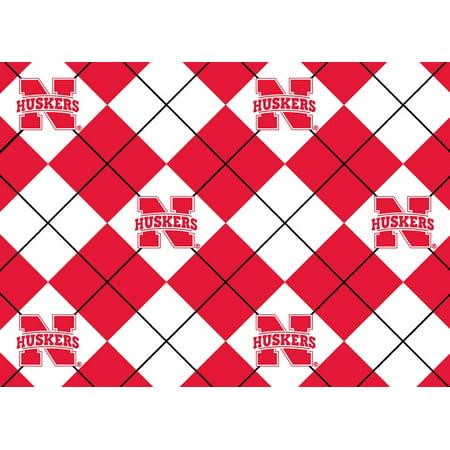 NCAA Nebraska Fleece Argyle Fabric, per Yard