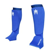 Meister Elastic Cloth Shin & Instep Padded Guards (Pair) Blue - Large / X-Large
