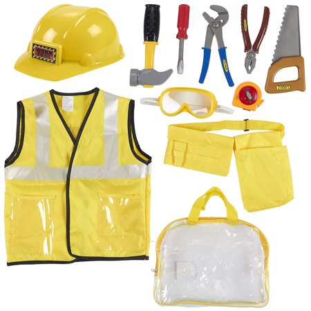 Kids Role Play Costume Set - 10-Piece Construction Worker Costume for Kids, Builder Dress Up Kit with Hard Hat, Tool Belt, Vest, and Other Accessories for Pretend Play, Halloween Dress