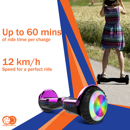 Gyrocopters PRO 6.0 Off-Road Hoverboard - UL 2272 Certified with Bluetooth, LED wheels, APP, No Fall Technology, Front and Back lights (Purple) - image 4 of 10