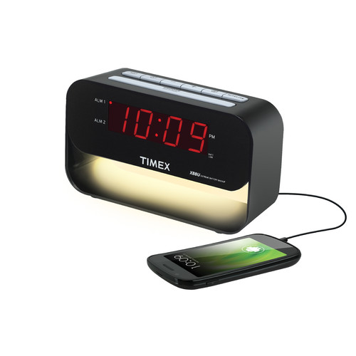 Timex T128BC Decorative XBBU Dual Alarm Clock with USB Charging & Night Light (Black)