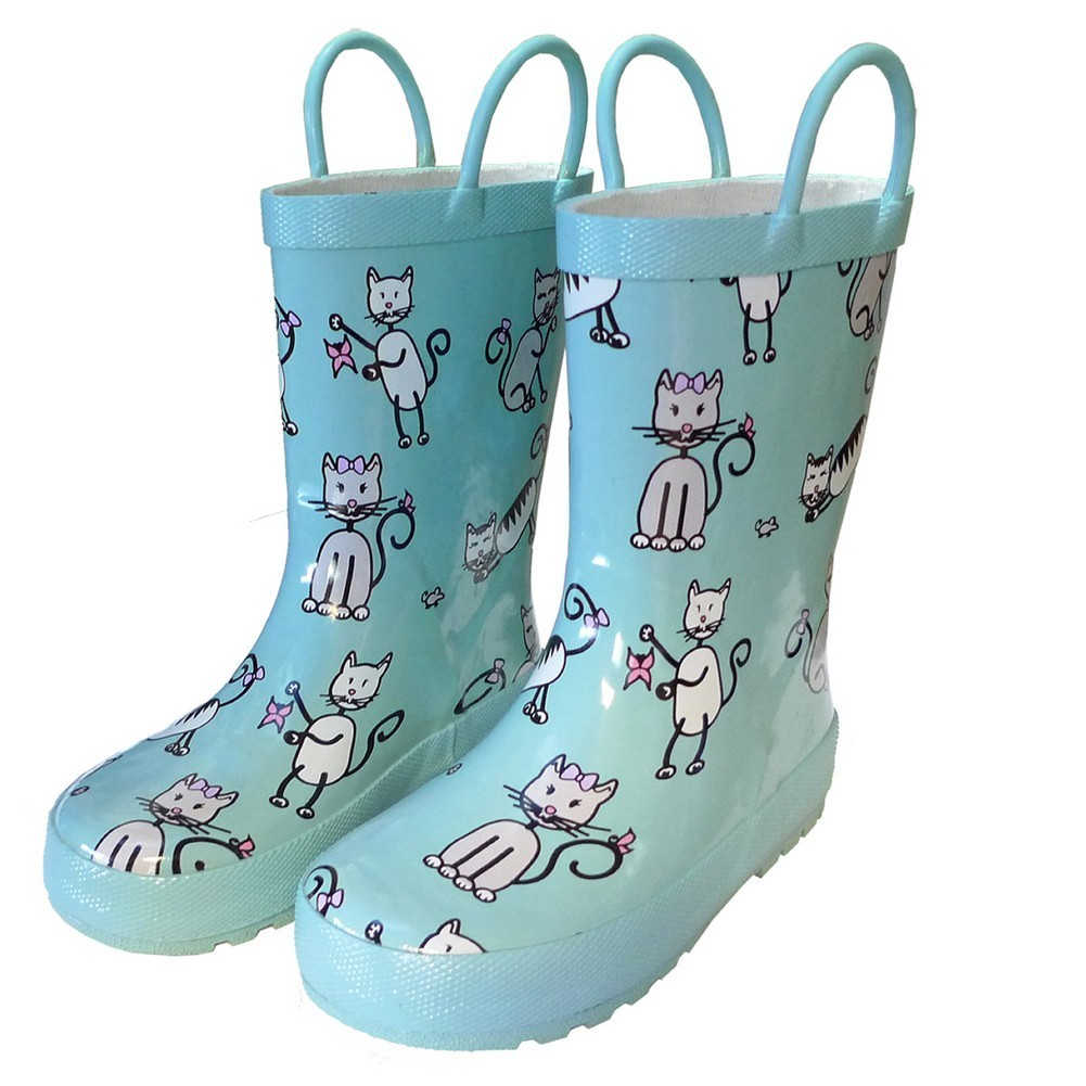 Angel Blue Kittens Toddler Girls Rain Boots 7