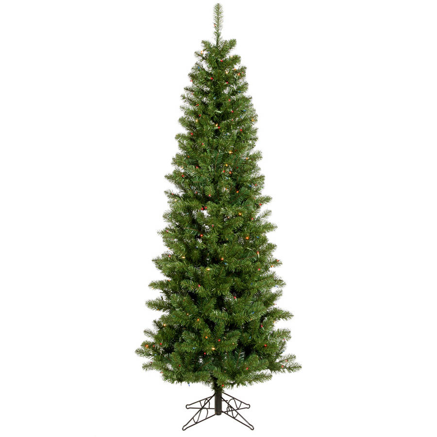 Vickerman Pre-Lit 7.5' Salem Pencil Pine Artificial Christmas Tree, Dura-Lit, Multicolor Lights