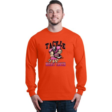 Shop4Ever Men's Tackle Football Player Breast Cancer Awareness Long Sleeve Shirt (Football Long Sleeve Sport Shirt)
