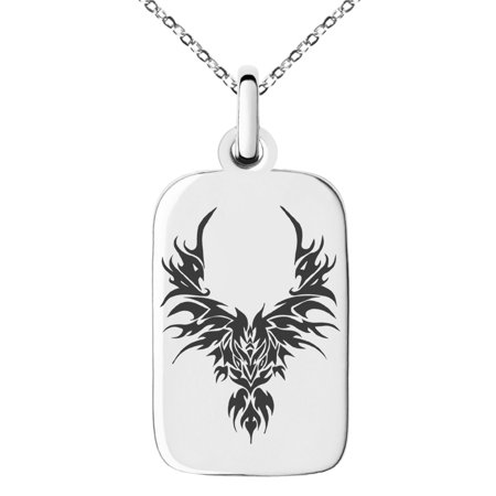 Tone Rectangle Pendant - Stainless Steel Rising Phoenix Blaze Engraved Small Rectangle Dog Tag Charm Pendant Necklace