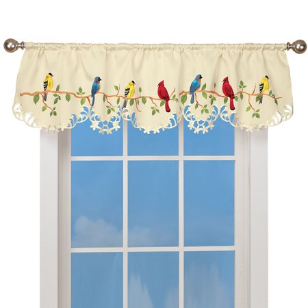 Spring Valance Curtain with Beautiful Birds on a Branch Décor & Rod Pocket Top, 15