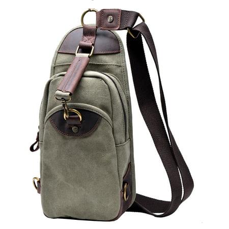 69f2ac0086ec Gootium Canvas Chest Pack Vintage Crossbody Bag Leather Shoulder Sling  Backpack