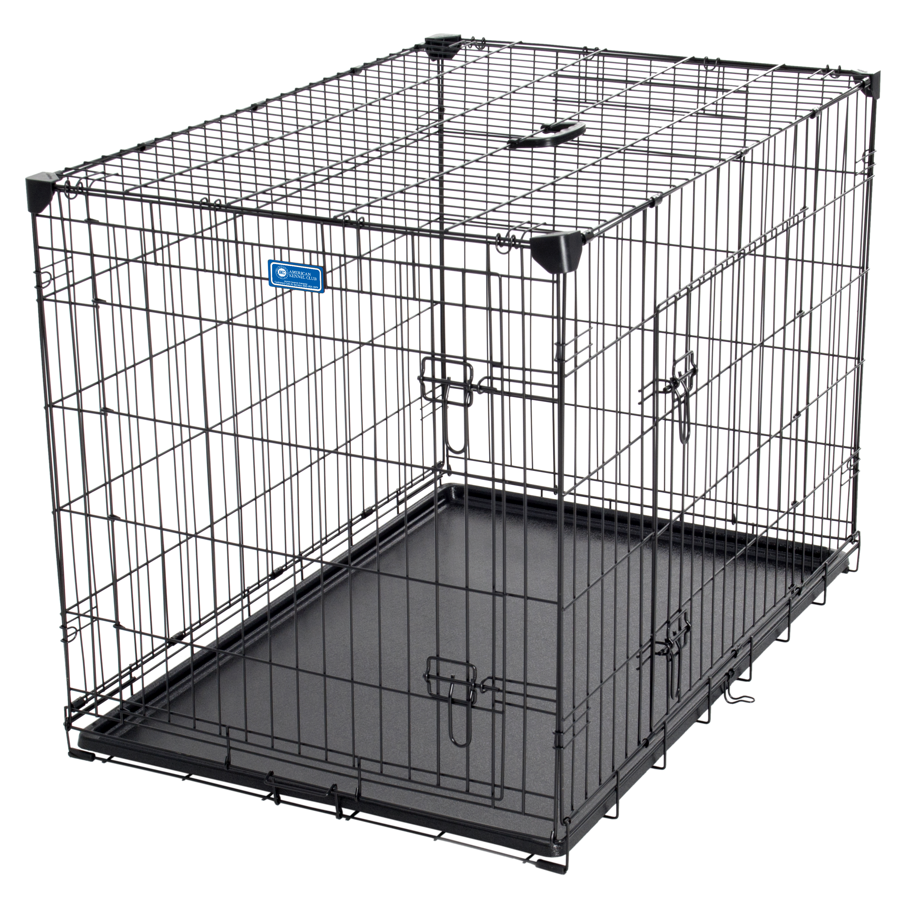 AKC® 36L x 24W x 27H Inch 2-Door Dog Training Crate with Corner Stabilizers, Rust-Resistant Wire, Handle, Leak-Proof Removable Pan, Free Training Guide