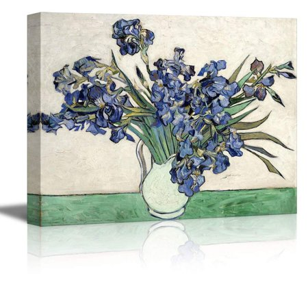 wall26 Irises in a Vase by Vincent Van Gogh - Oil Painting Reproduction on Canvas Prints Wall Art, Ready to Hang - 16x24 inches (Vase Paintings)