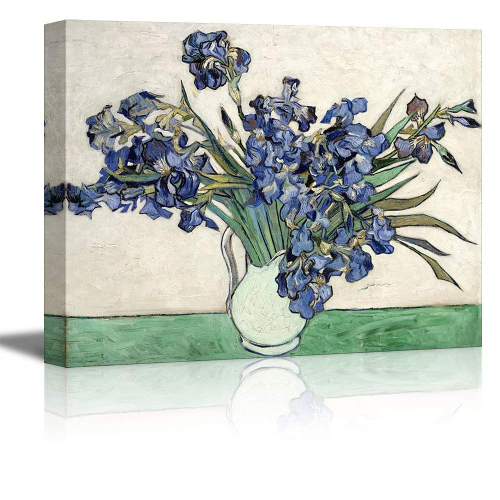 wall26 Irises in a Vase by Vincent Van Gogh - Oil Painting Reproduction on Canvas Prints Wall Art, Ready to Hang - 16x24 inches