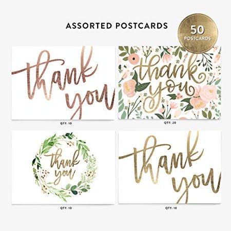50 4x6 Thank You Postcards Assorted Bulk Set, Floral Watercolor and Calligraphy Note Card Stationery, Blank Thank You Cards for Wedding, Bridesmaid, Assorted Bulk Pack