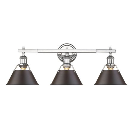 Orwell CH 3 Light Bath Vanity in Chrome with Rubbed Bronze Shade
