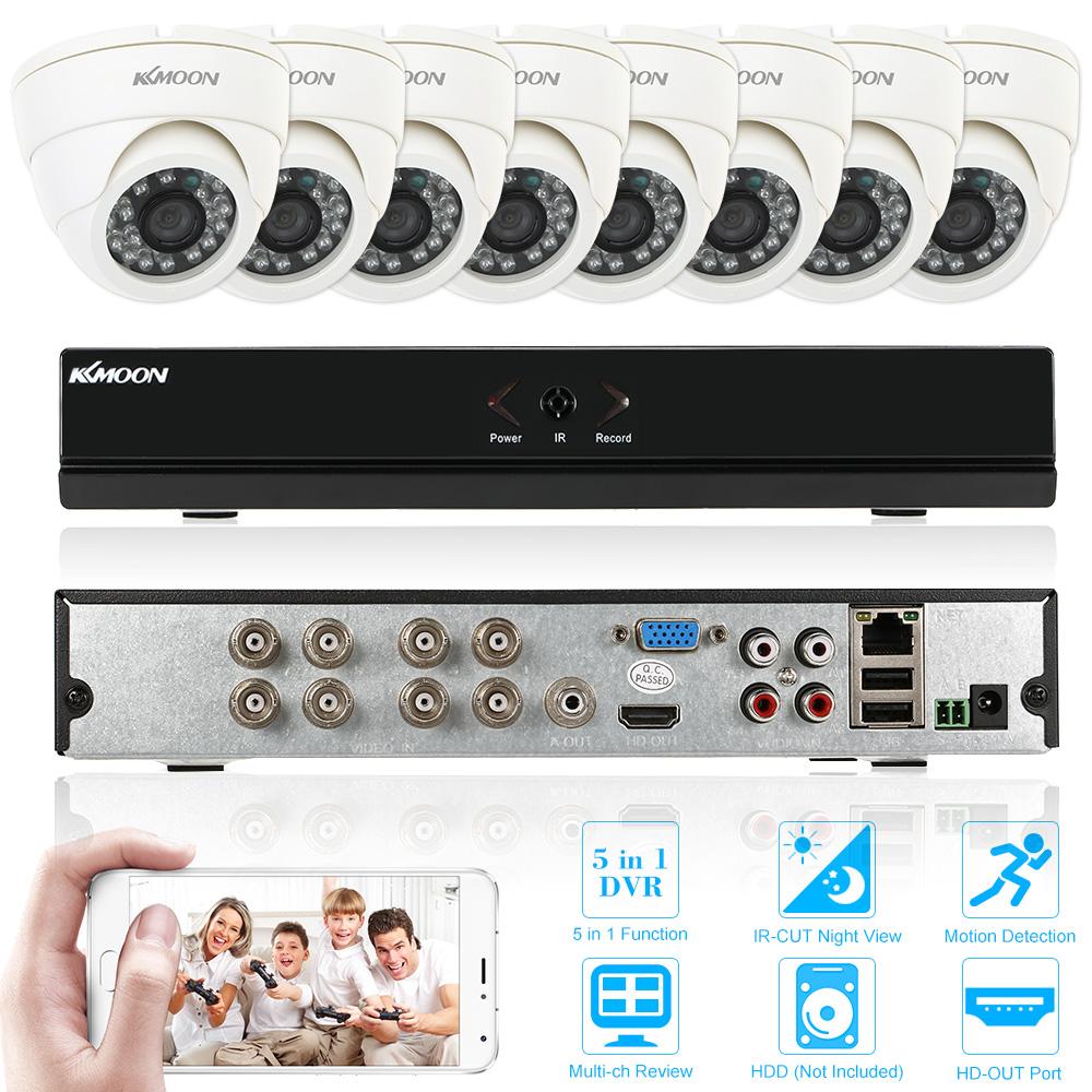 KKmoon 8CH H.264 1080P Hybrid NVR AHD TVI CVI DVR 5-in-1 Surveillance Security System with 8pcs 800TVL IR-CUT CCTV Camera