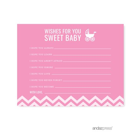 Wishes For Baby Bubblegum Pink Chevron Baby Shower Games, 20-Pack - Baby Shower Wishing Tree