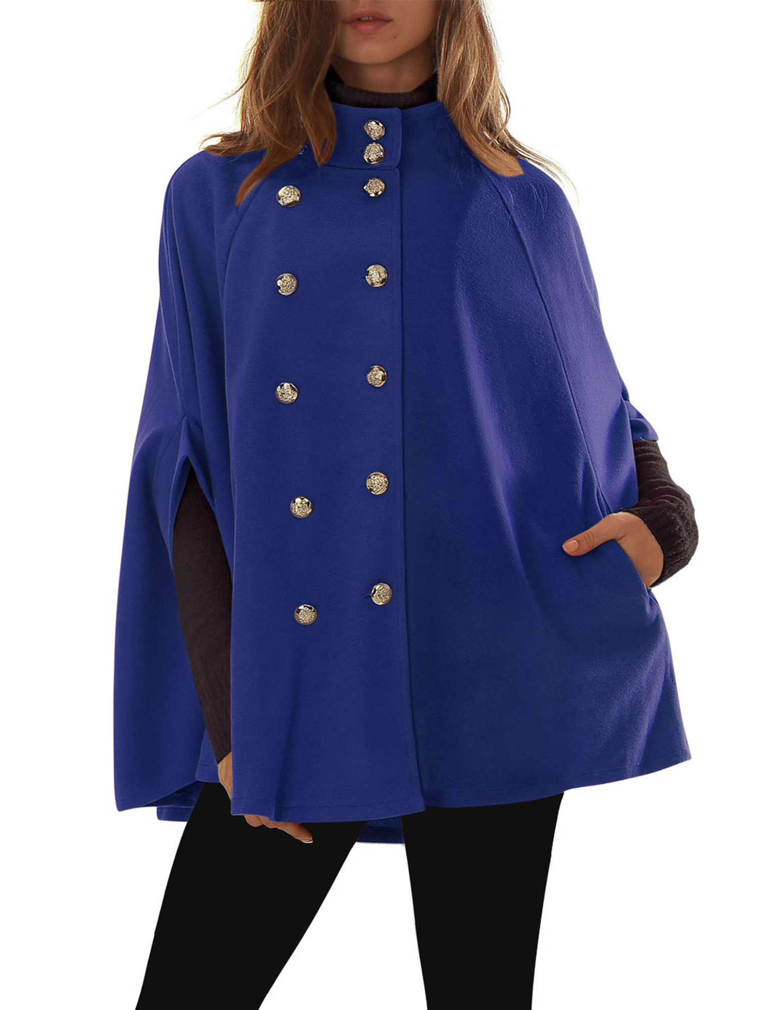 Women's Stand Collar Double Breasted Worsted Poncho Coat by Unique-Bargains