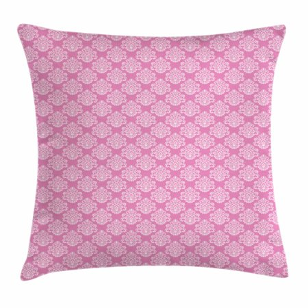 Pink Throw Pillow Cushion Cover, Intricate Flower Motifs Artistic Petals and Leaves Retro Renaissance Tile, Decorative Square Accent Pillow Case, 20 X 20 Inches, Pink and Baby Pink, by Ambesonne