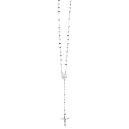 Sterling Silver Gold tone or Silver tone Rosary Bead Necklace Virgin Mary Cross Necklace 24