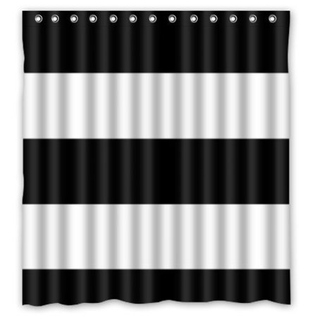 HelloDecor Black And White Stripes Shower Curtain Polyester Fabric Bathroom Decorative Size 66x72 Inches